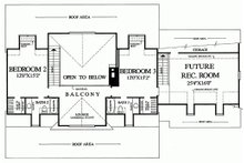 Upper Level floor plan - 2600 square foot Southern home