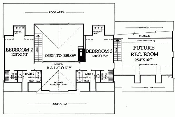 Dream House Plan - Upper Level floor plan - 2600 square foot Southern home