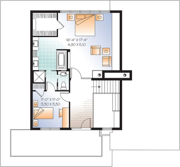Upper Floor Plan - 3200 square foot Modern Home