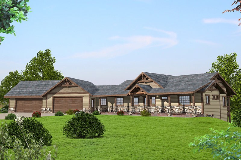 Ranch Style House Plan - 3 Beds 2.5 Baths 3385 Sq/Ft Plan #117-875 Exterior - Front Elevation
