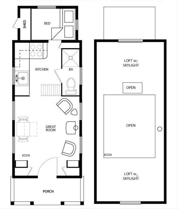 Cottage Style House Plan - 1 Beds 1 Baths 290 Sq/Ft Plan #896-5 Floor Plan - Main Floor Plan