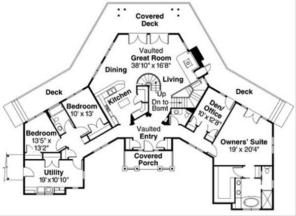 Ranch Floor Plan - Main Floor Plan Plan #124-728