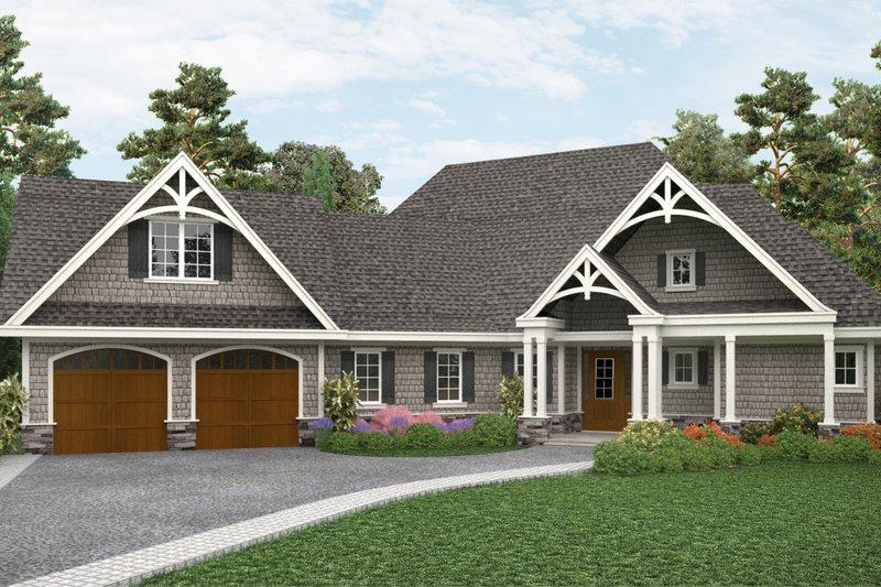 Architectural House Design - Craftsman Exterior - Front Elevation Plan #54-408