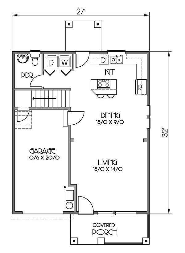 Craftsman Floor Plan - Main Floor Plan Plan #423-59