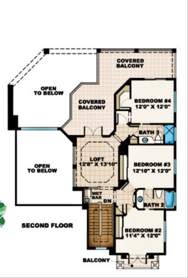Mediterranean Floor Plan - Upper Floor Plan Plan #27-376