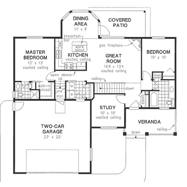 Traditional Style House Plan - 3 Beds 2 Baths 1194 Sq/Ft Plan #18-1054 Floor Plan - Main Floor Plan