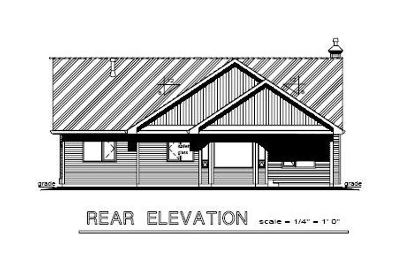 Ranch Exterior - Rear Elevation Plan #18-1021 - Houseplans.com