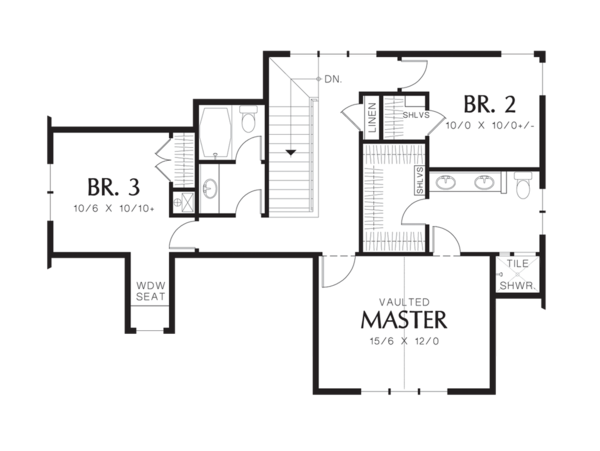 Craftsman Floor Plan - Upper Floor Plan Plan #48-521