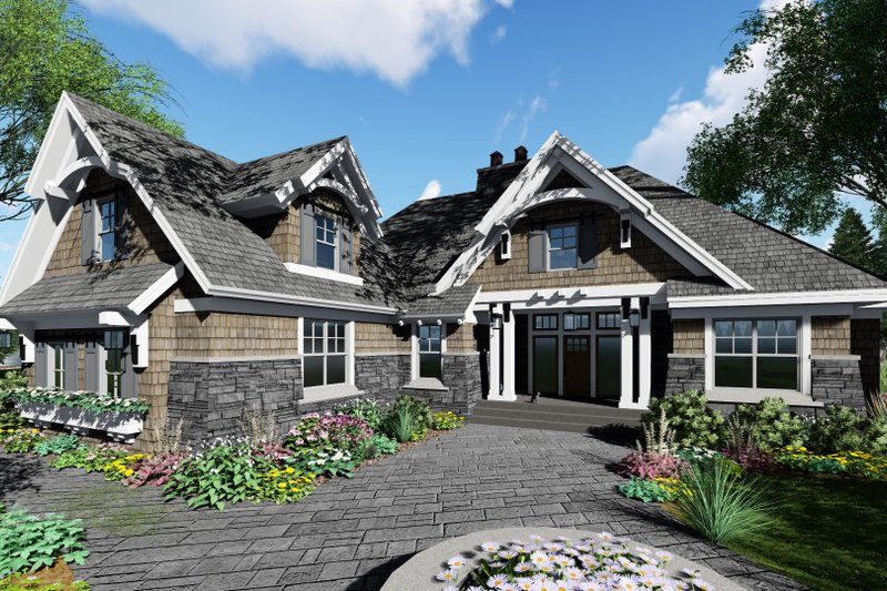 Craftsman Style House Plan - 4 Beds 3 Baths 2370 Sq/Ft Plan #51-570 Exterior - Front Elevation