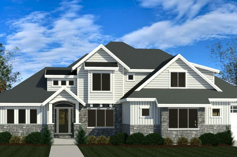 Craftsman Style House Plan - 5 Beds 3.5 Baths 3749 Sq/Ft Plan #920-104 Exterior - Front Elevation