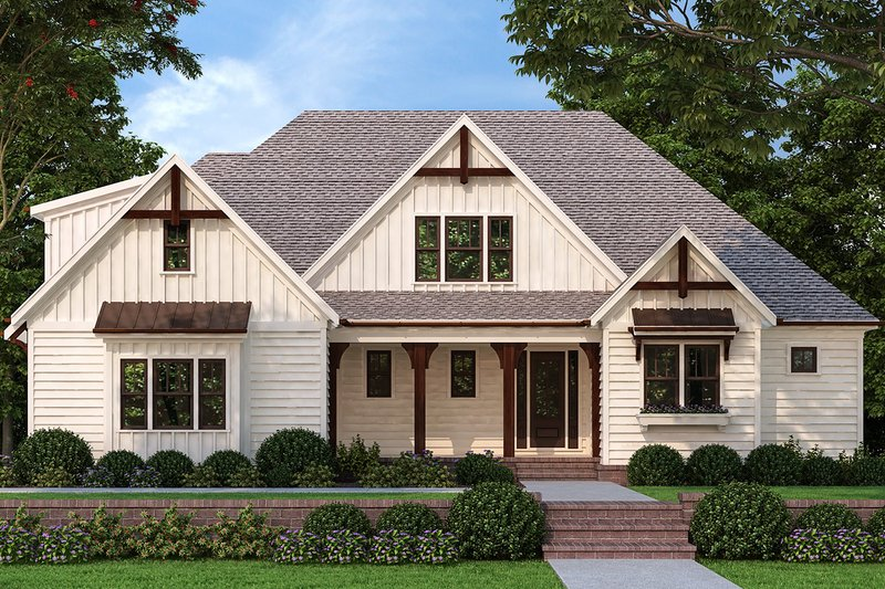 Farmhouse Style House Plan - 4 Beds 3 Baths 2462 Sq/Ft Plan #927-1007 Exterior - Front Elevation