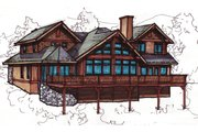 Craftsman Style House Plan - 3 Beds 3.5 Baths 2736 Sq/Ft Plan #921-13 Exterior - Rear Elevation