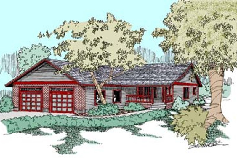 Ranch Exterior - Front Elevation Plan #60-539 - Houseplans.com