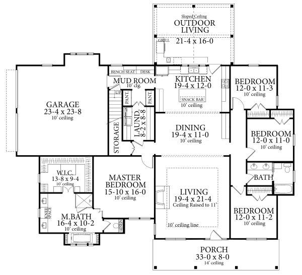Cottage Floor Plan - Main Floor Plan Plan #406-9656