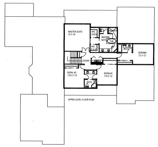 Craftsman Floor Plan - Upper Floor Plan Plan #117-879