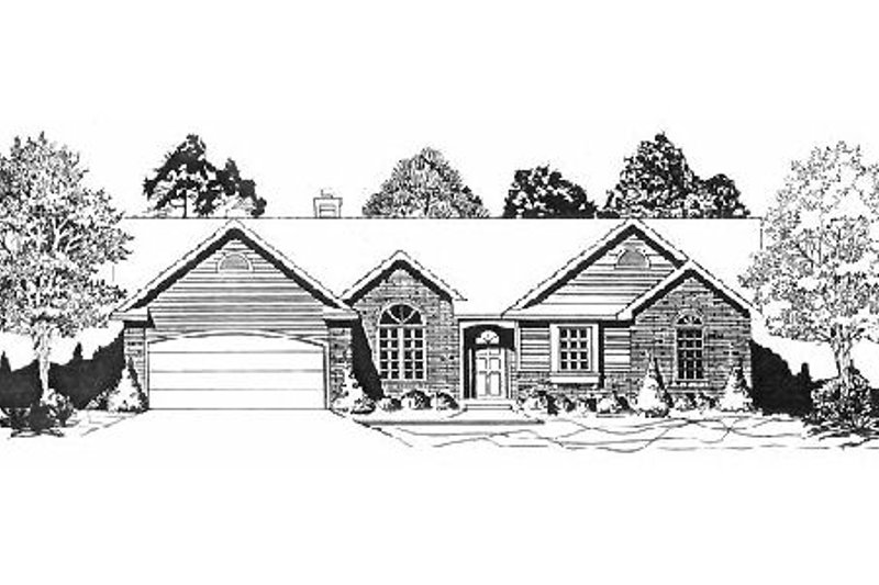 Traditional Style House Plan - 3 Beds 2 Baths 1532 Sq/Ft Plan #58-146 Exterior - Front Elevation