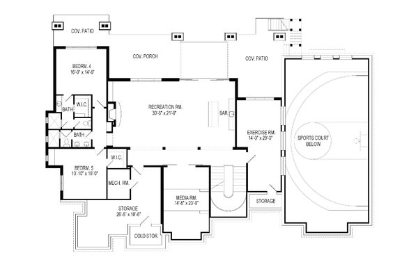 Craftsman Floor Plan - Lower Floor Plan Plan #920-49