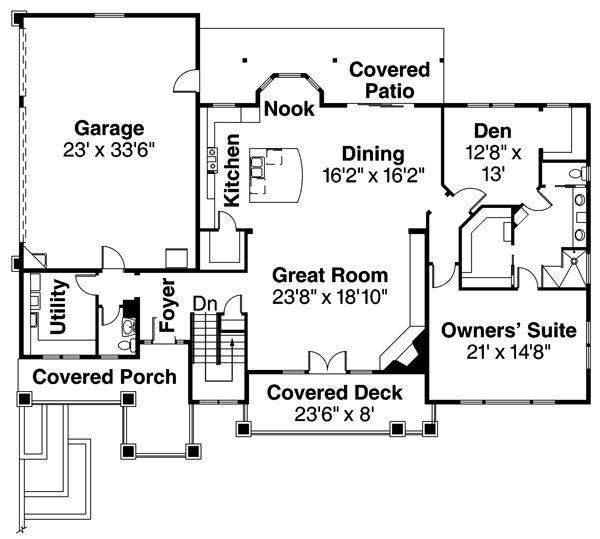 Prairie Floor Plan - Main Floor Plan Plan #124-873