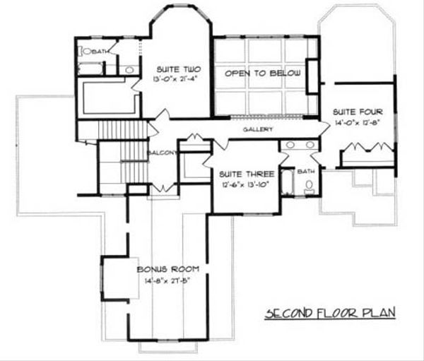 Craftsman Floor Plan - Upper Floor Plan Plan #413-115