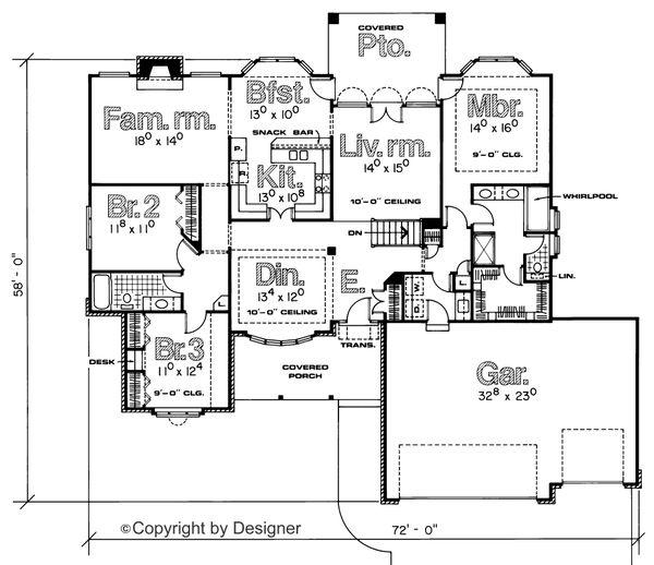 House Plan Design - Traditional Floor Plan - Main Floor Plan #20-725