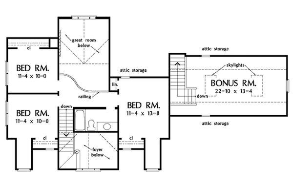 Country Floor Plan - Upper Floor Plan #929-215