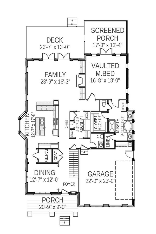Farmhouse Floor Plan - Main Floor Plan Plan #898-18
