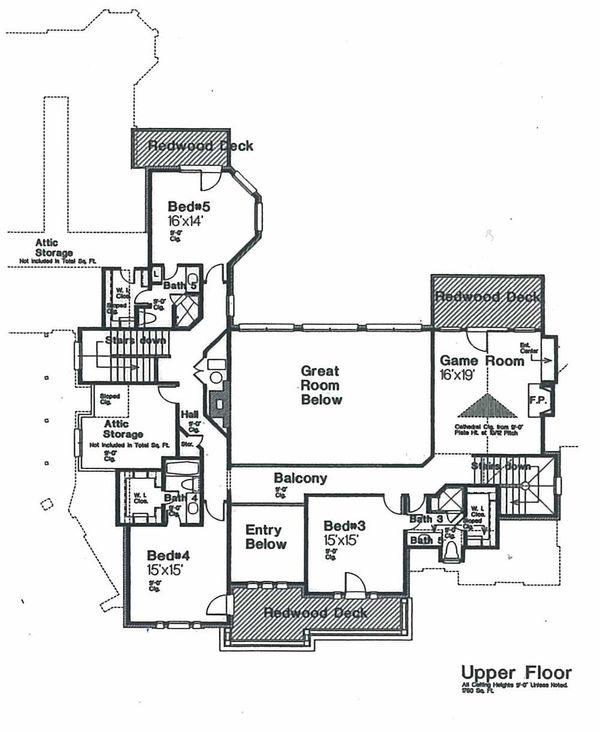 Architectural House Design - European Floor Plan - Upper Floor Plan #310-670