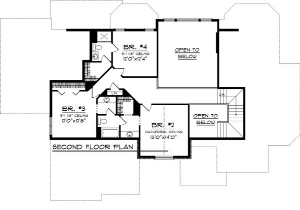 Craftsman Floor Plan - Upper Floor Plan Plan #70-1060