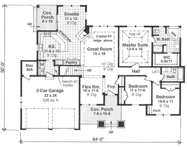 Craftsman Floor Plan - Main Floor Plan Plan #51-517