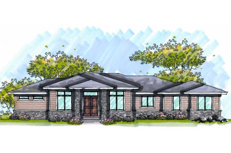Modern Exterior - Front Elevation Plan #70-1004 - Houseplans.com
