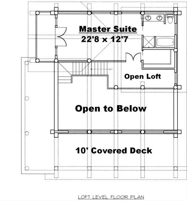 Log Floor Plan - Upper Floor Plan Plan #117-556