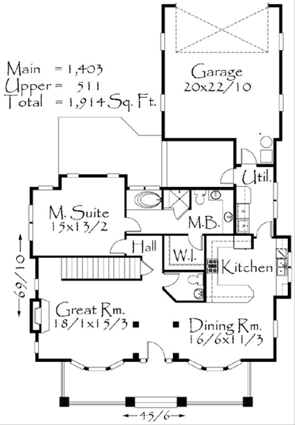 Craftsman Floor Plan - Main Floor Plan Plan #509-22