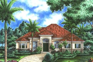 Mediterranean Exterior - Front Elevation Plan #27-405