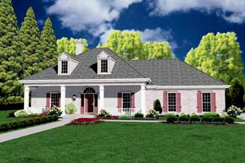 Southern Style House Plan - 3 Beds 2 Baths 1859 Sq/Ft Plan #36-164 Exterior - Front Elevation