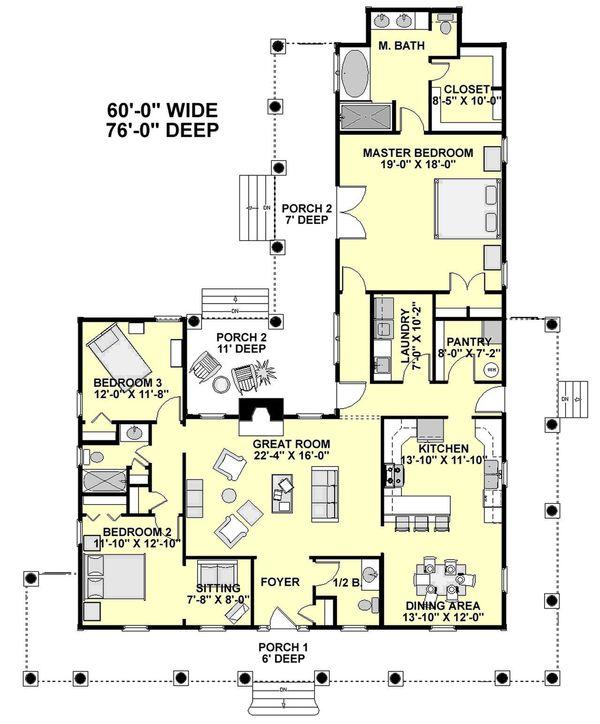 Country Floor Plan - Main Floor Plan Plan #44-155