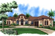 Mediterranean Style House Plan - 4 Beds 4 Baths 6098 Sq/Ft Plan #27-524 Exterior - Front Elevation