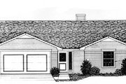 Ranch Style House Plan - 3 Beds 2 Baths 1540 Sq/Ft Plan #310-568 Exterior - Front Elevation