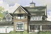 Traditional Style House Plan - 4 Beds 4.5 Baths 3536 Sq/Ft Plan #901-68 Exterior - Front Elevation