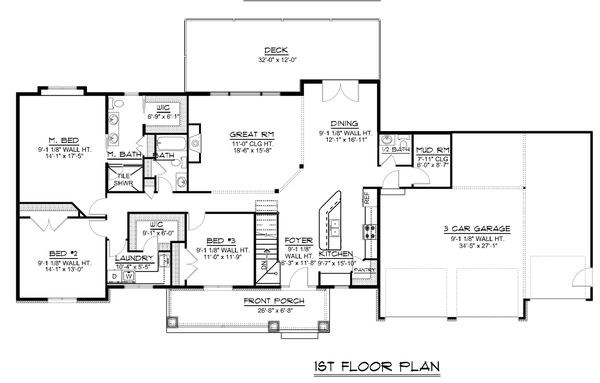Craftsman Floor Plan - Main Floor Plan Plan #1064-59