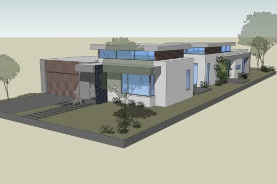 Modern Exterior - Front Elevation Plan #496-23