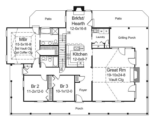 Country Floor Plan - Main Floor Plan Plan #57-641