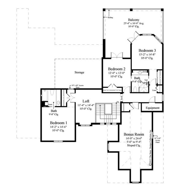 European Floor Plan - Upper Floor Plan Plan #930-486