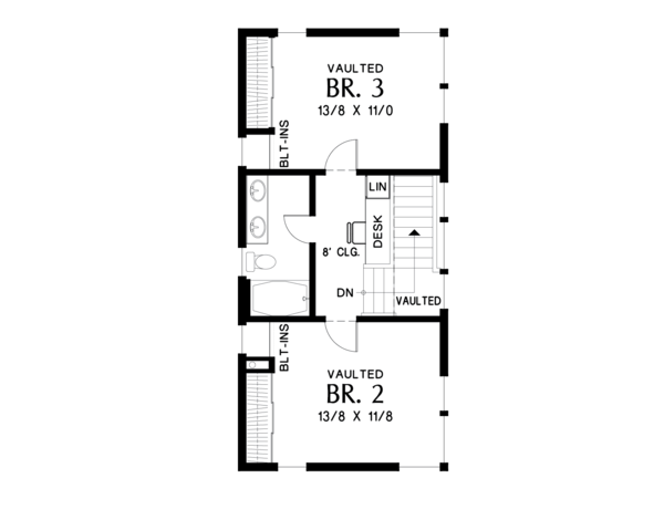 Contemporary Floor Plan - Upper Floor Plan Plan #48-693