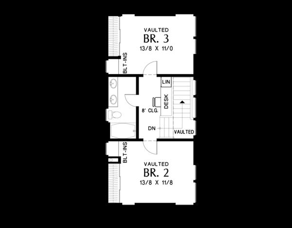 Contemporary Floor Plan - Upper Floor Plan #48-693