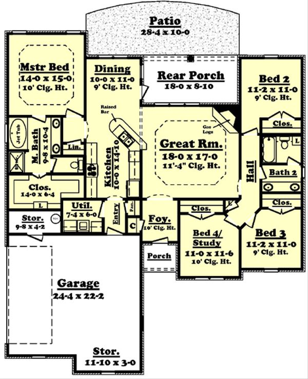 Traditional Floor Plan - Main Floor Plan Plan #430-54