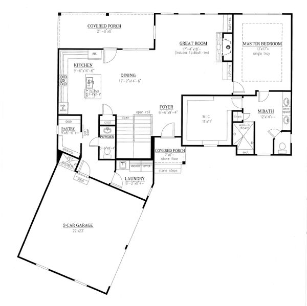 Ranch Floor Plan - Main Floor Plan Plan #437-88