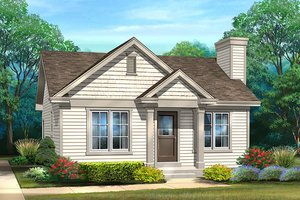 Cottage Exterior - Front Elevation Plan #22-595