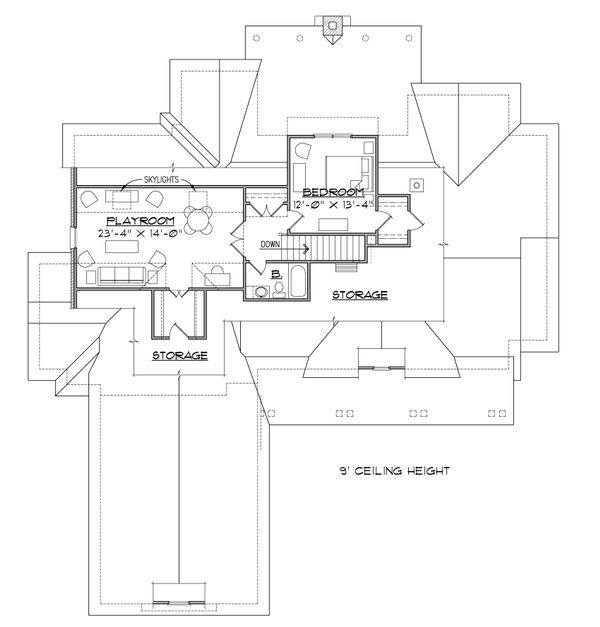 Country Floor Plan - Upper Floor Plan Plan #1054-28
