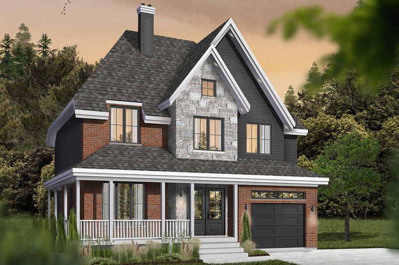 Farmhouse Style House Plan - 4 Beds 2.5 Baths 1935 Sq/Ft Plan #23-864 Exterior - Front Elevation