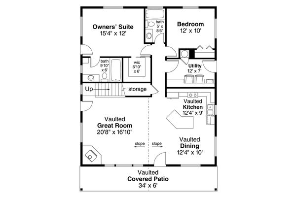 Home Plan - Cabin Floor Plan - Main Floor Plan #124-1128